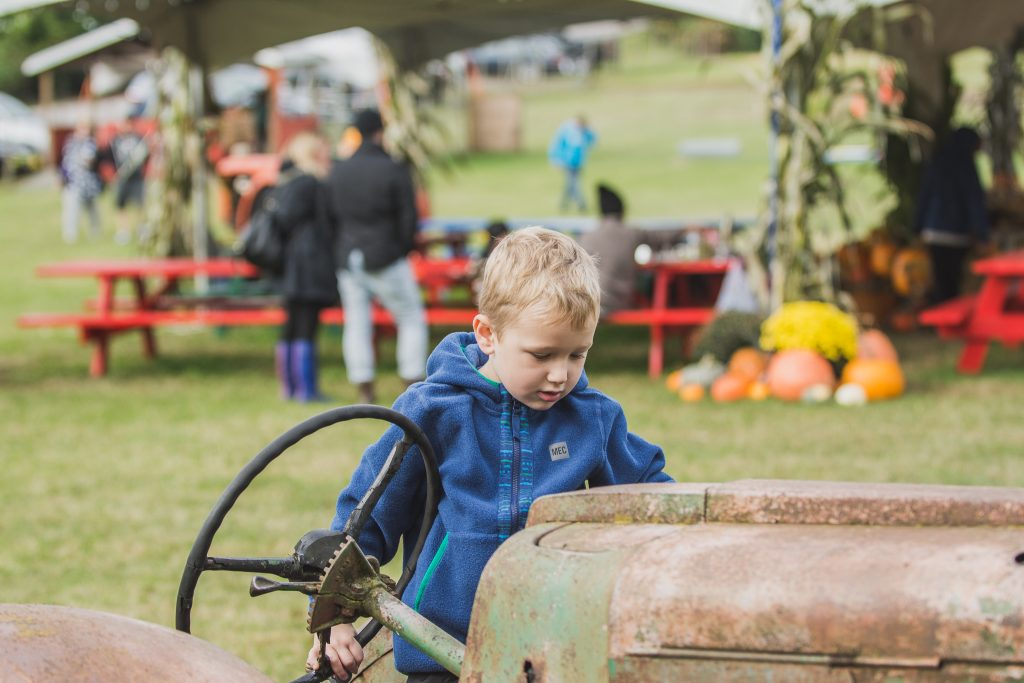 Exploring one of many tractors at Hazelmere