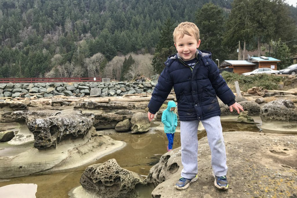 Exploring Sandstone at Ford's Cove - Hornby Island