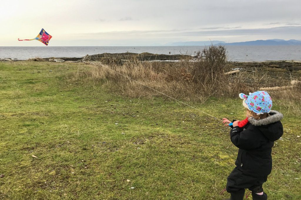 Flying Kites at Grassy Point - Hornby Island